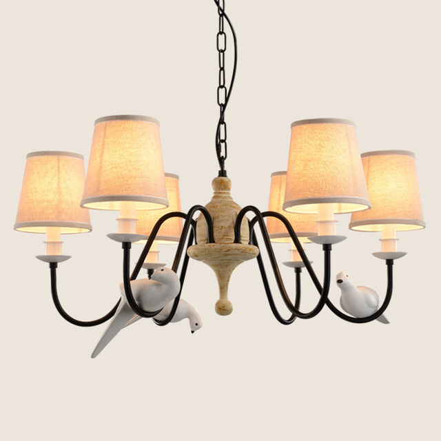 Cottage bird chandelier living room light black iron retro resin cottage bird chandelier living room light black iron retro resin country style flaxen fabric lampshade lamp aloadofball Image collections