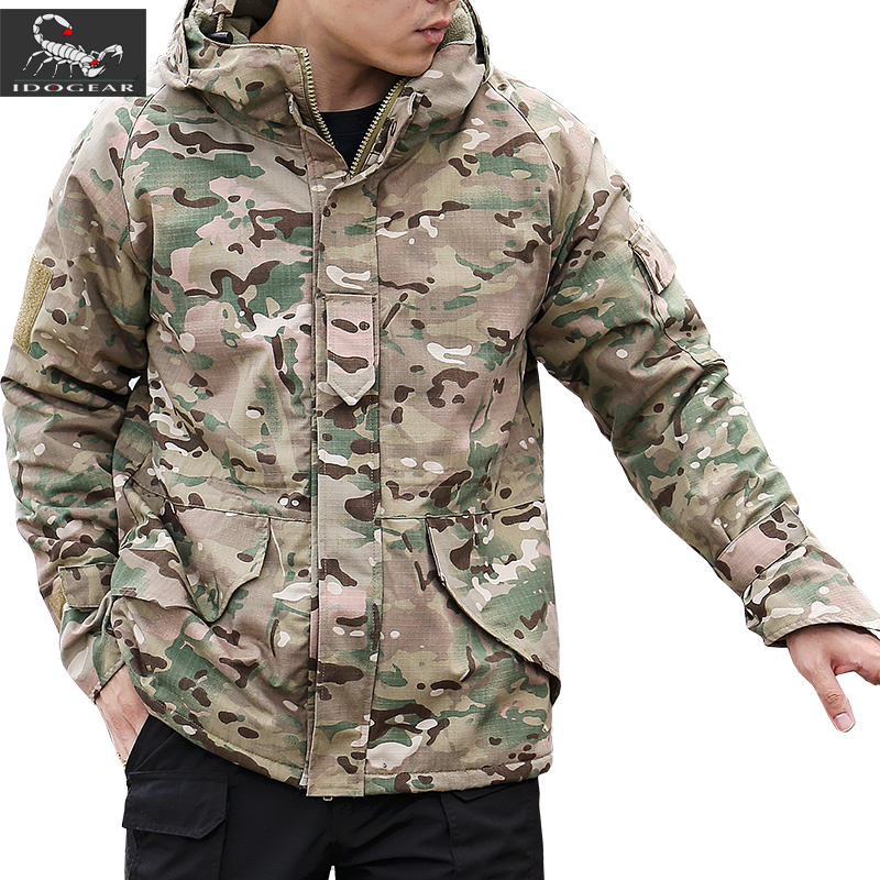 IDOGEAR G8 Tactical Jacket Training Hiking Waterproof Thicken Fleece Warm Camouflage Parkas Winter Men Thermal Hooded Coat Tops