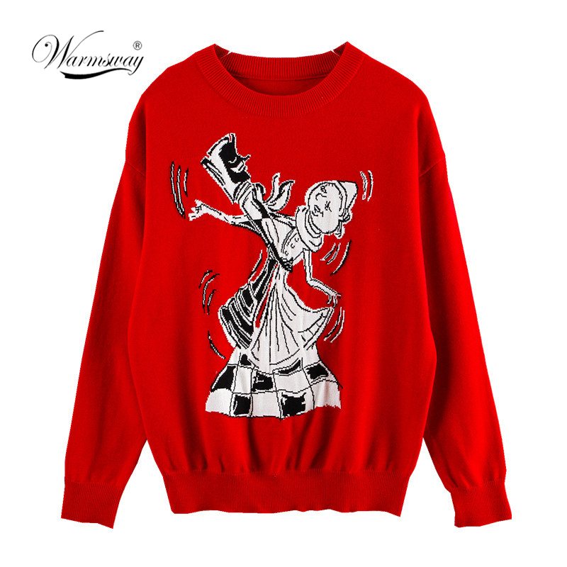O Neck Sweater Women Red Pull Sweater Pull Femme Hiver Harajuku Longsleeve Red Pullover 2019 New Christmas  C-279
