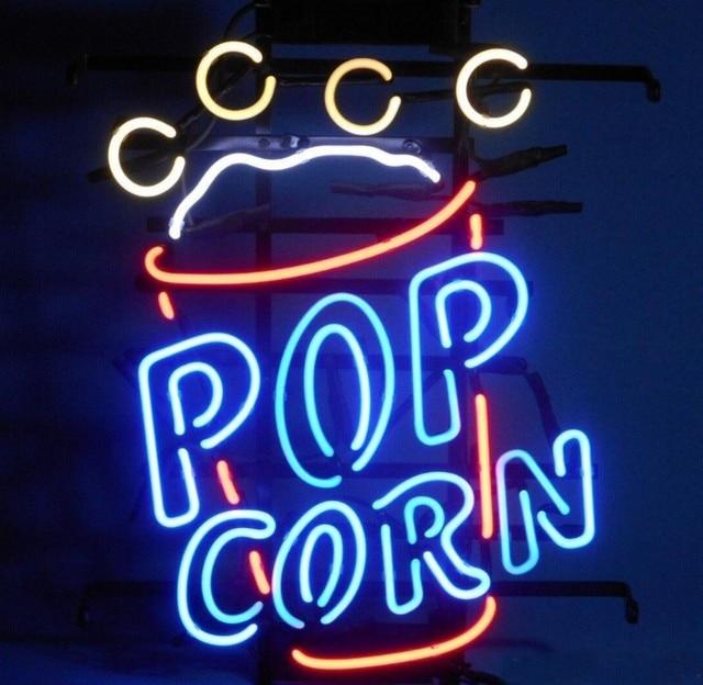 Custom Pop Corn Glass Neon Light Sign Beer Bar