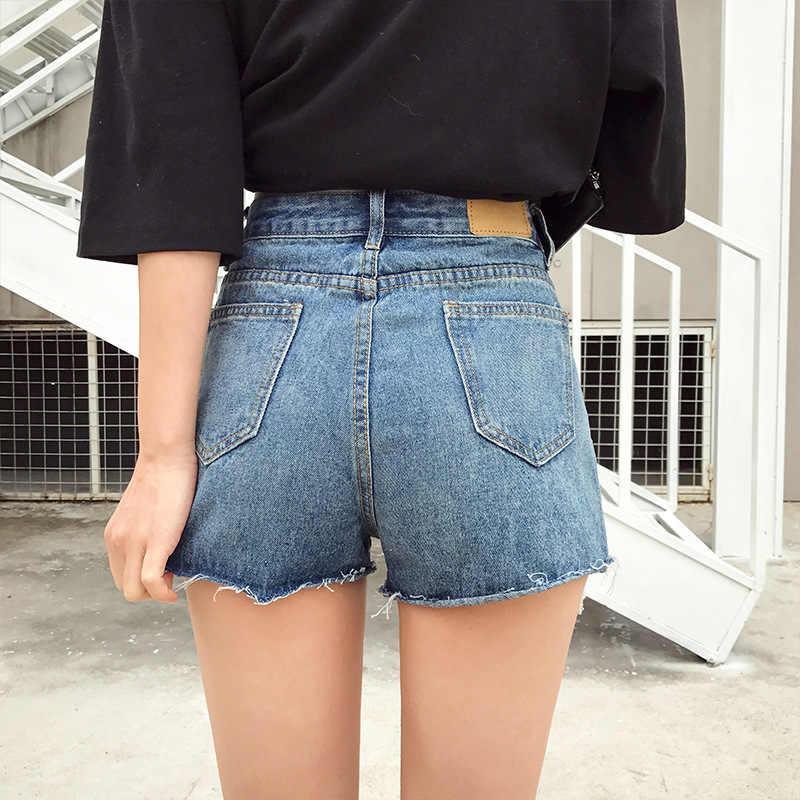 Kobiet lato jesień wysokiej talii Streetwear Punk nit gorące spodenki mody zgrywanie czarny/niebieski kobiet szerokie spodnie jeansowe krótkie D327