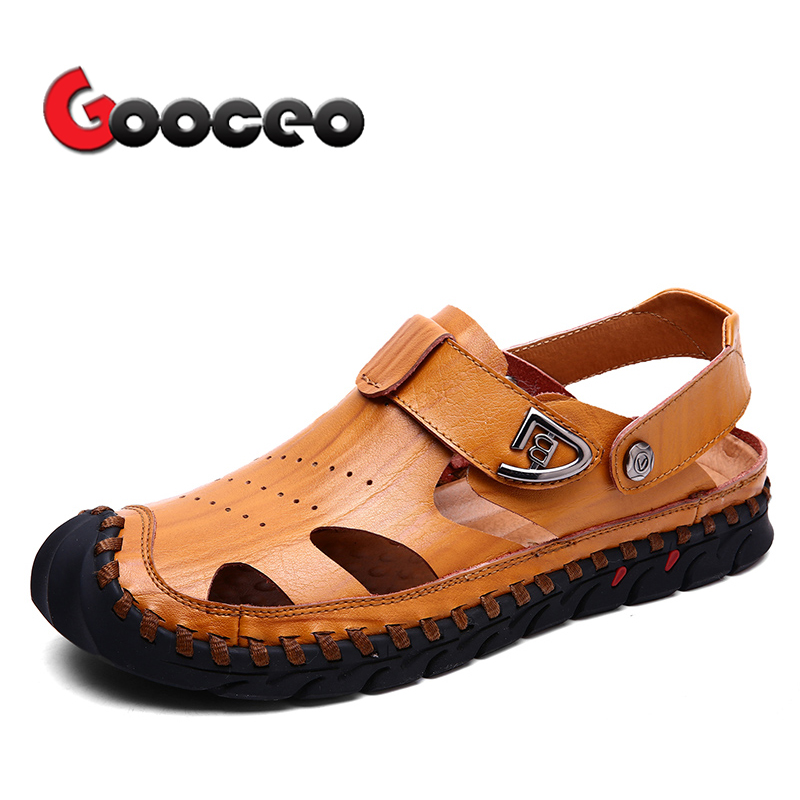 Mens Leather Sandals Summer Beach Non-slip Closed Toe Fisherman Shoes Casual Breathable Outdoor Sandals