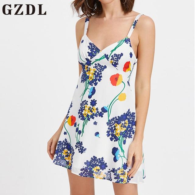 55a7cfb5c065 GZDL Women Beach Casual Style Cool Floral Print Dress Spaghetti Strap  Sleeveless V Neck Chiffon Sexy Backless Mini Dress CL3798