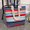 2017 New Summer Women Canvas bohemian style striped Shoulder Beach Bag Female Casual Tote Shopping Big Bag floral Messenger Bags 2
