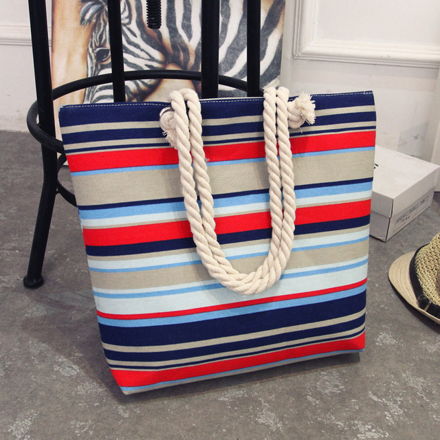 Summer Women Canvas bohemian style striped Shoulder Bag 2