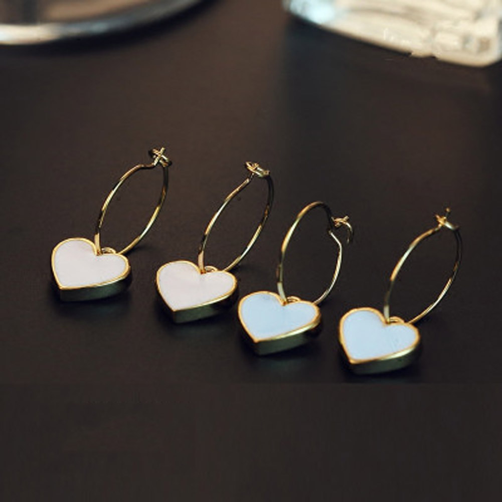 1/Pair Sweet Heart-shaped Earrings Limited New Earings Brincos Brinco Japan And South Korea Fashion Girl Wind Lovely Peach Heart