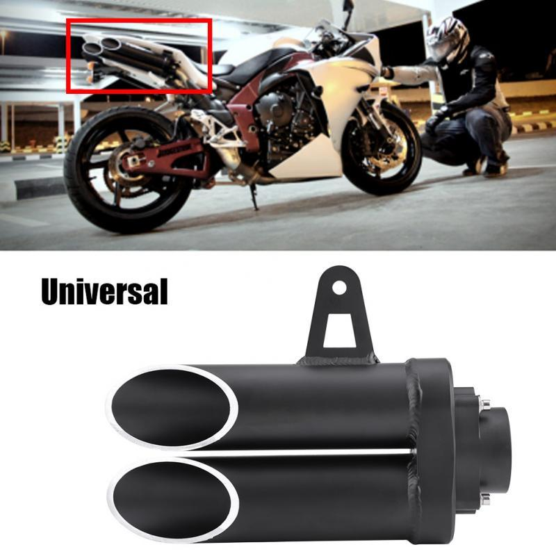 New Motorcycle Universal Double Exhaust Muffler Rear Pipe Tailpipe for  Yamaha R6 MT-03 MT-07 MT-09 Motorcycle Accessories