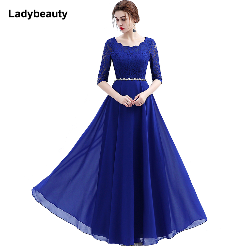 2016 Custom Made Elegant Black Winter Evening Dresses Lace Half Sleeve Robe De Soiree Long Vestido
