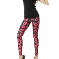 Seksi Kırmızı Dudaklar 3D Tayt Kadın Spor Leggins Punk Rock Femme Harajuku Legging Sıcak Satış Yeni Varış Elastik Pantolon Tayt