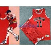 Anime Slam Dunk Cosplay Costume SHOHOKU Basketball Team 11 Kaede Rukawa Red Jersey And Shorts Sportswear