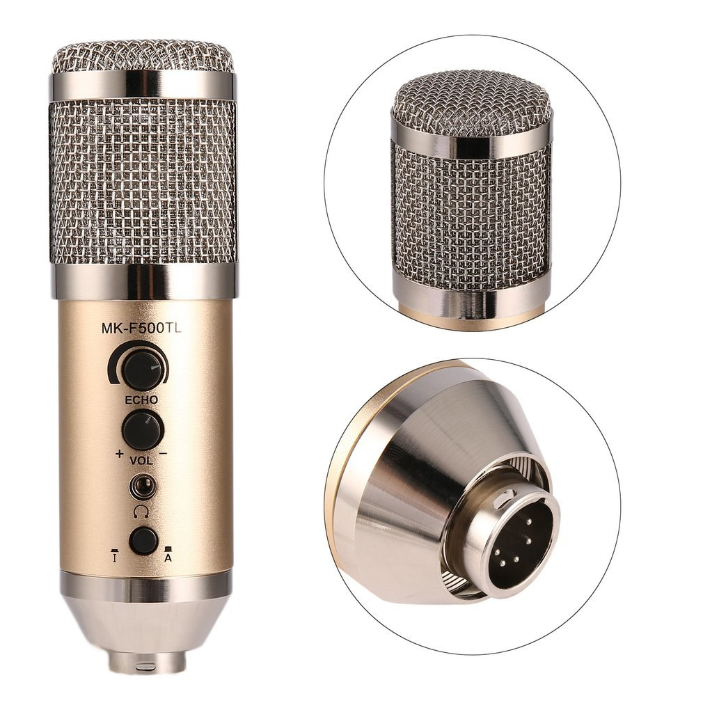 Vocal Wired Microphone Professional Large Diaphragm Studio Recording Microphone For Computer Mobile Phone MK-F500TL