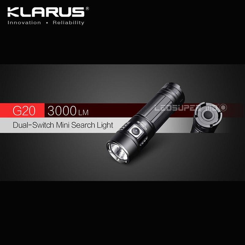 D'origine KLARUS G20 XHP70 N4 LED 3000 Lumens lampe de Poche Double-Commutateur Mini Lumière de Recherche avec 26650 Batterie de 5000 mAh