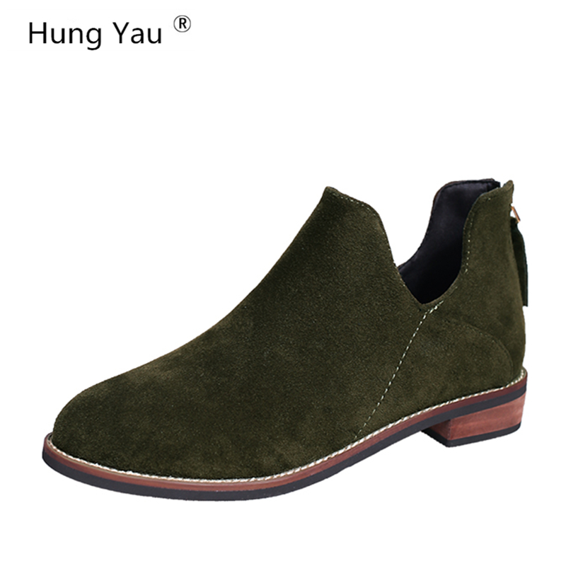 dde7fd6e55ee Detail Feedback Questions about Hung Yau Spring Shoes For Women Boots Solid  Ladies Green Shoes Martin Boots Suede Leather Ankle Boots Thick Heel Plus  Size ...