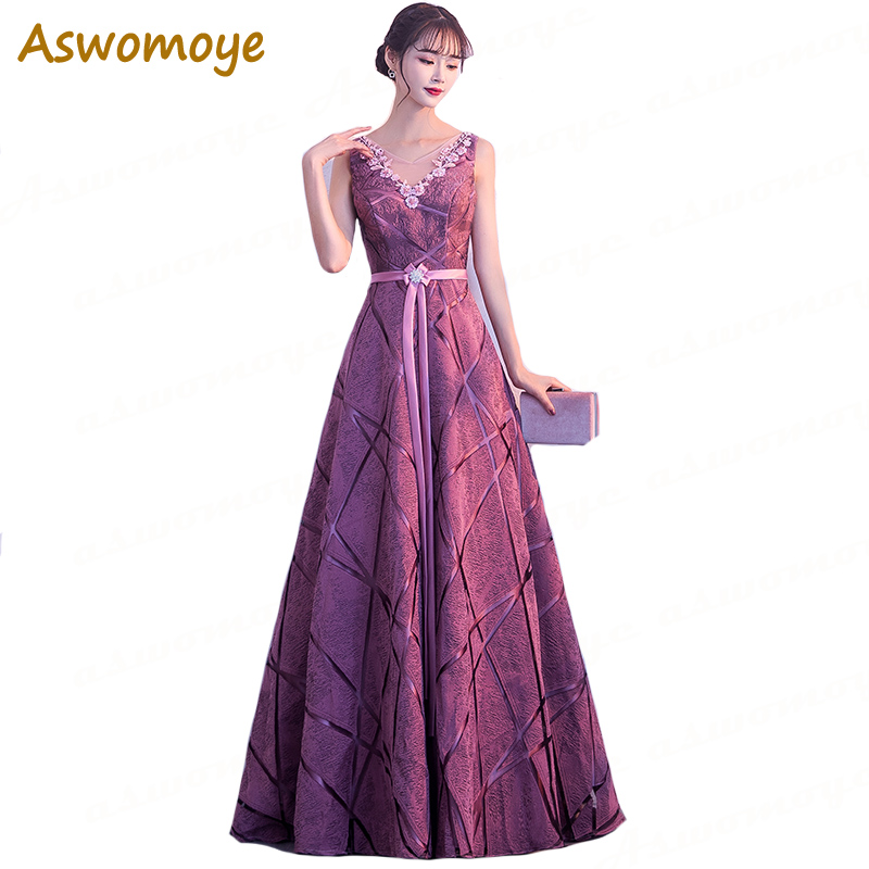 Aswomoye Elegant A-Line   Evening     Dress   Long 2018 New Fashion Flower Sashes Formal   Dress   Sexy V-Neck Back Lace Up robe de soiree