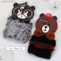 LANGSIDI For iPhone 5s phone case luxury handmade customized bear head plush style back cover to send 2PCS phone glass film