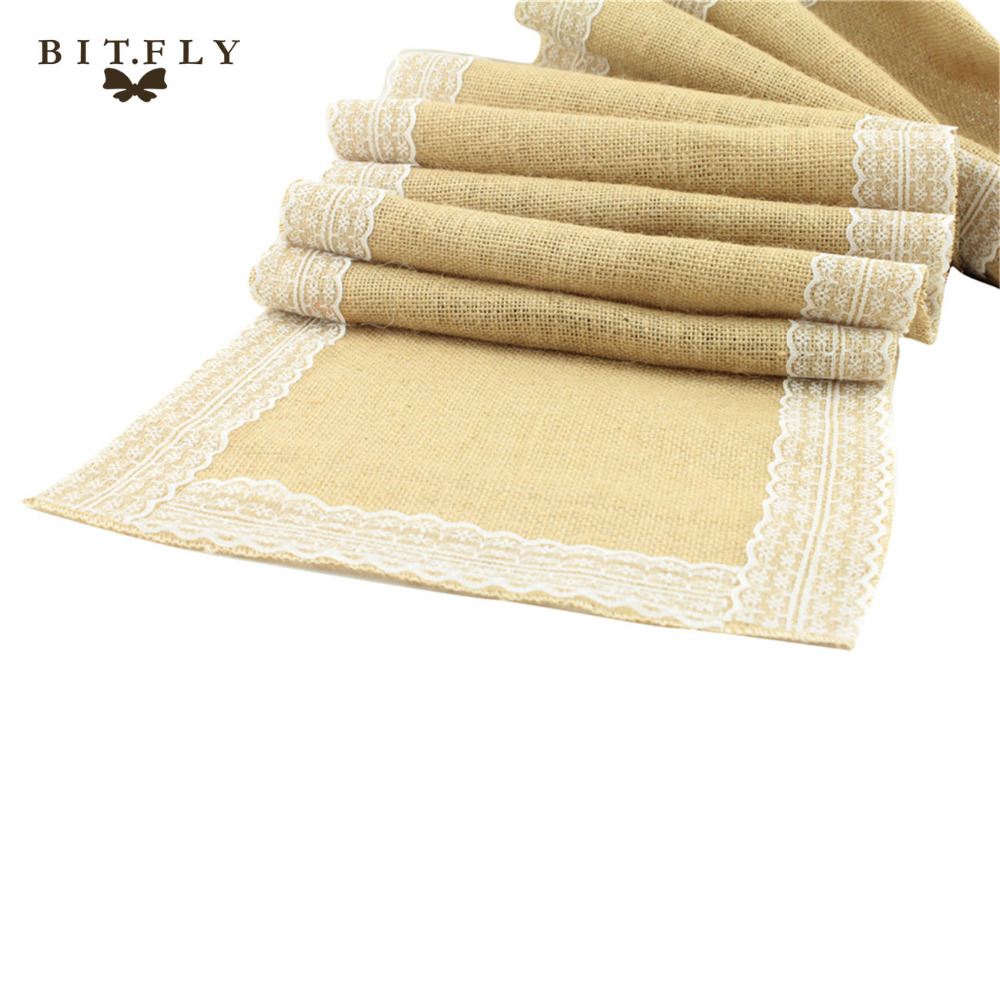Plus Size 30CM *275CM Vintage Jute Burlap Table Runner with Lace Trim Wedding Table cloth Party Decorations Free Shipping