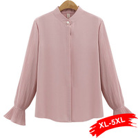 Pleated Long Sleeve Rulles Plus Size Black Blouse And Shirts Office Lady 4Xl 5Xl Women Pink