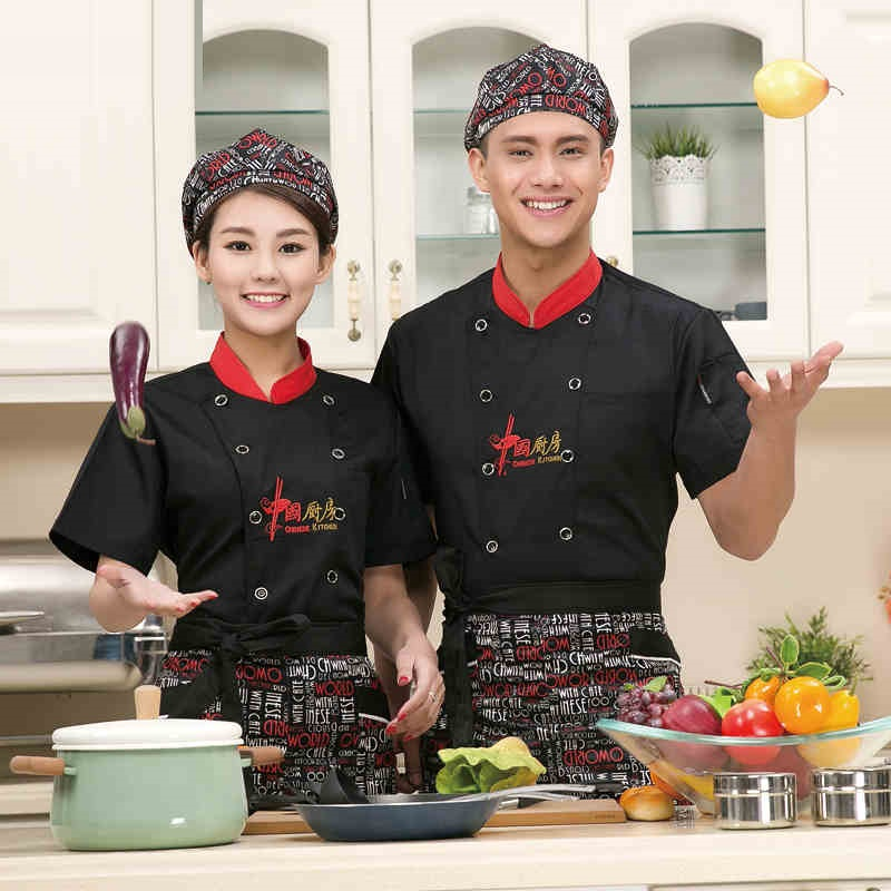 (10 sets Hat&Shirt&Apron) restaurant chefs cotton clothes with cap and apron full sets baker wear black red white ship by