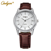 Onlyou Brand Leather Quartz Watch Women Men Lovers Fashion Casual Black Rose Gold Wristwatches Relogio Masculino Feminino 8801