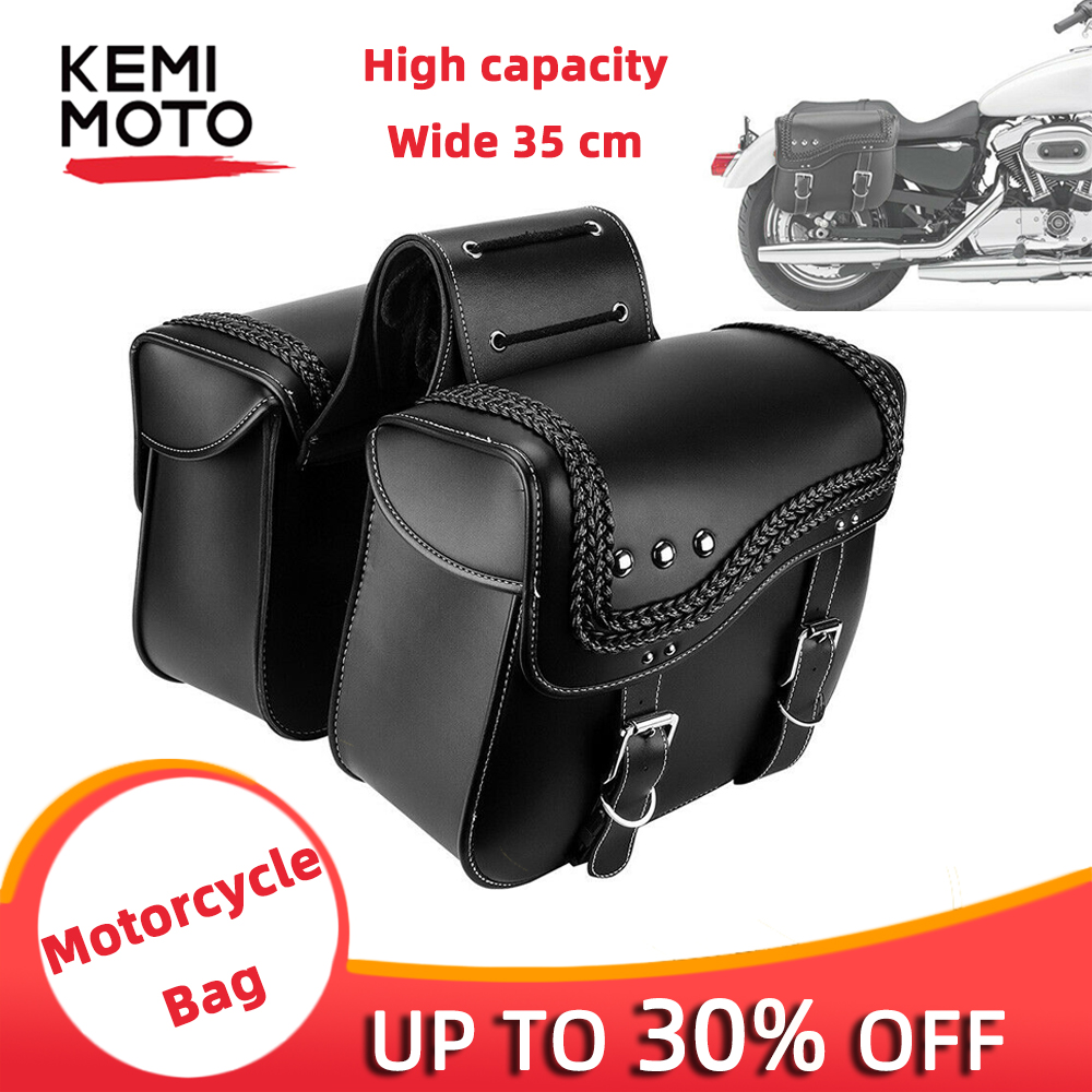 Black Saddle Bags Side Luggage Tool Bag For Sportster Dyna Touring Softail Motorcycle 100 Band New High quality PU Leather