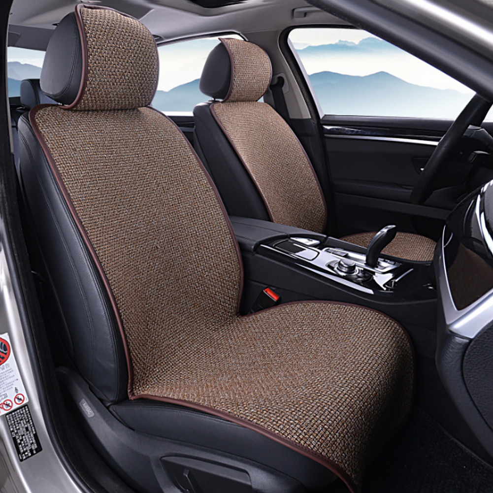 Car Front Seat Flax Fabrics Covers Universal seat Cushion Accessories Decorate Protection For