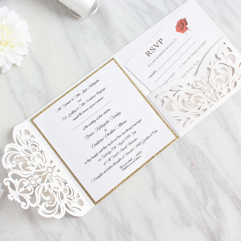 Elegant Tri Fold Pocket Wedding Invite With Belly Band Laser Cut White Gold Glittery Customized Printing