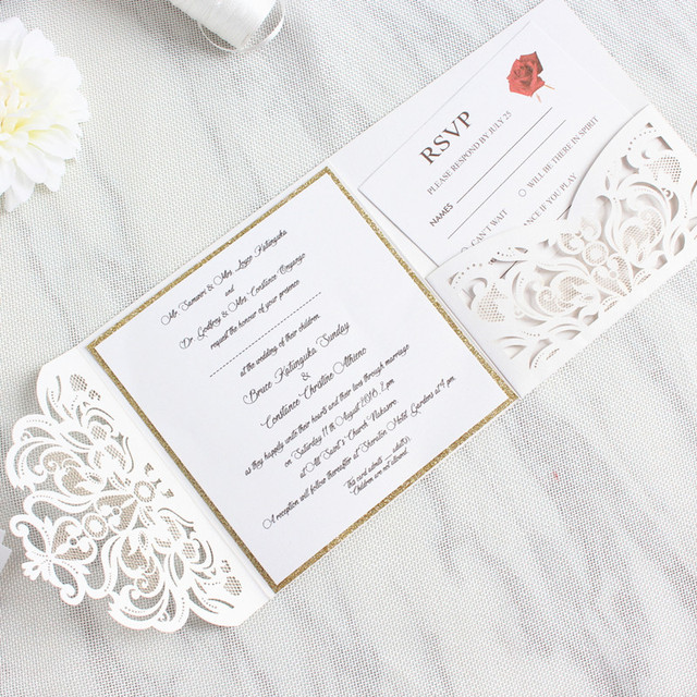 d3053aebcf191 Elegant Tri-Fold Pocket Wedding Invite With Belly Band Laser Cut White Gold  Glittery Customized Printing