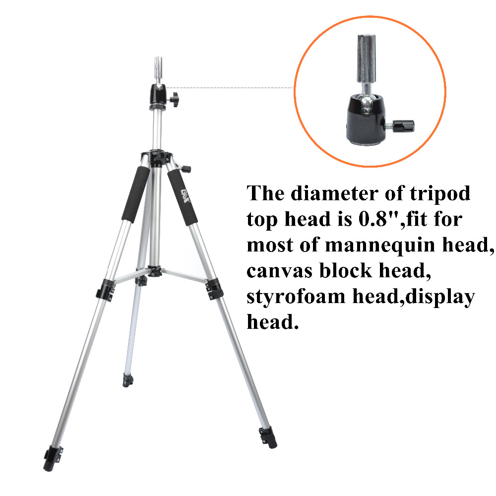 Silvery Tripod Training Doll Head Mannequin Head Wig Manikin Canvas Block Head Stand Aluminium Alloy Round Leg Strong Stable Tools & Accessories