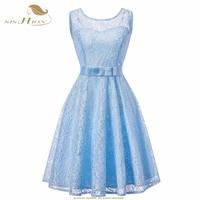SISHION Blue Dress Women Ladies Plus Size Elegant Light Blue Pink Wine Red Sexy Summer Vintage Party Lace Dress VD0950