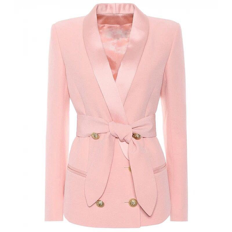 EXCELLENT QUALITY Stylish Career Blazer For Women Shawl Collar Lion Buttons Lacing Belt Blazer Jacket