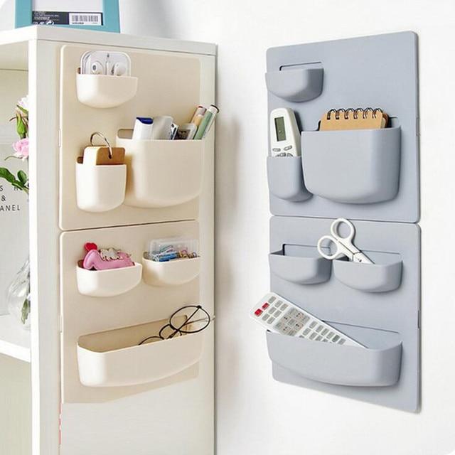 Self Adhesive Wall Mounted Shelves Storage Rack Holder Kitchen Finishing  Hanging Storage Rack Sundries Cosmetic Organizer Box