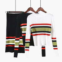 ALPHALMODA Rainbown Striped Long-sleeved Slim Sweater Straight Step Skirt Women Winter Bottoming Knit Skirts Suits