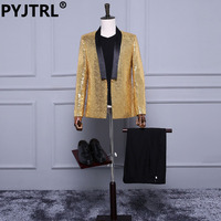 (Jacket+Pants) Gold Sequins Banquet Groom Wedding Dinner Party Shiny Mens Slim Suits Singer Stage Suit Concert Clothing