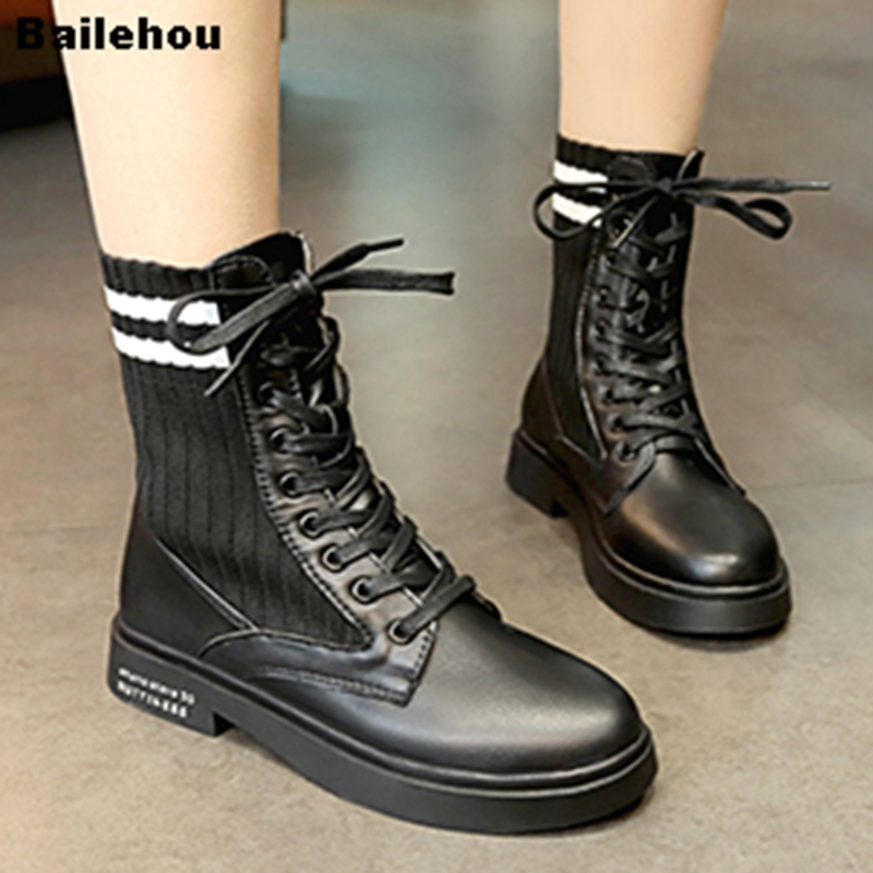 Women Ankle Boots Casual Lace Up Platform Shoes Flat Heel Fashion Female Footwear Stretch Sock Boots Motorcycle Martin Boots spring and autumn female women short boots shoes martin boots motorcycle boots footwear high heel pumps sexy platform shoes