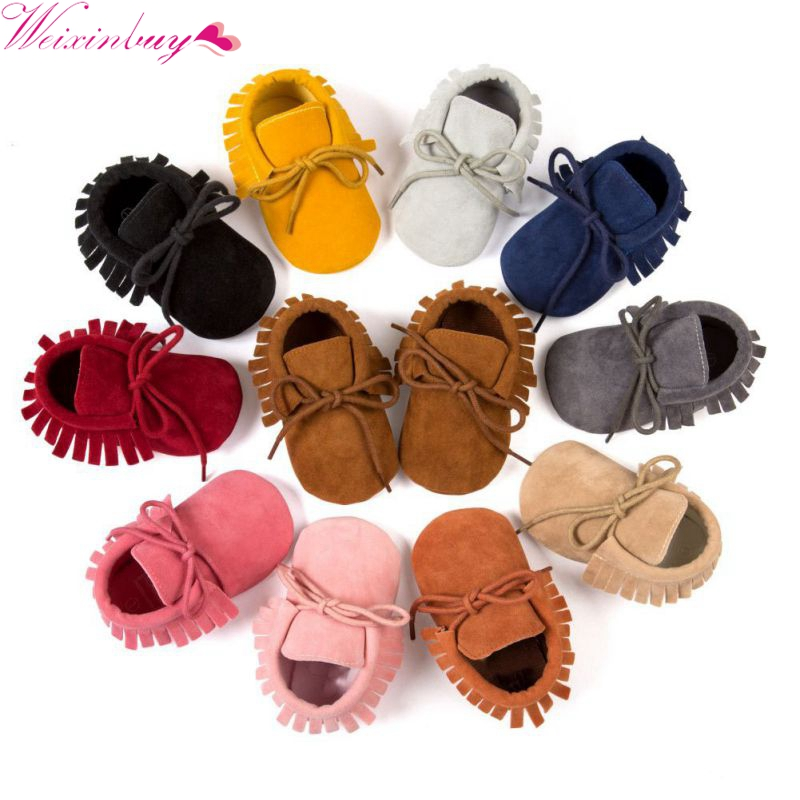 Boy Girl Soft Moccs Fringe Soft Soled First Walkers Non-slip Footwear Shoes PU Suede Leather Newborn Baby Moccasins