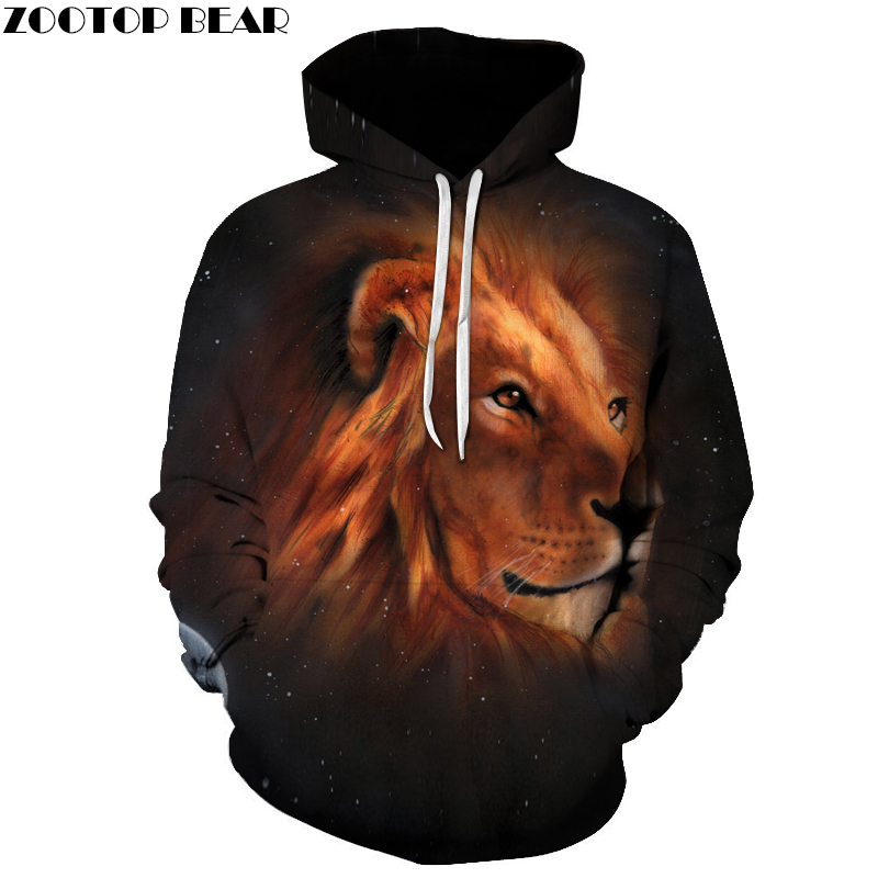 Space Lion Printed 3d Sweatshirts Men Hooded Outwear Fashion Casual Hoodies Unisex Quality Tracksuits Cool Pullover ZOOTOP BEAR