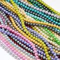 6/8mm Ambiental Teñido Redondas Perlas de Vidrio Hebras de Cuentas, Cordón de algodón Roscado, Color mezclado, agujero: 0.7 ~ 1.1mm; 30 Strands/lot