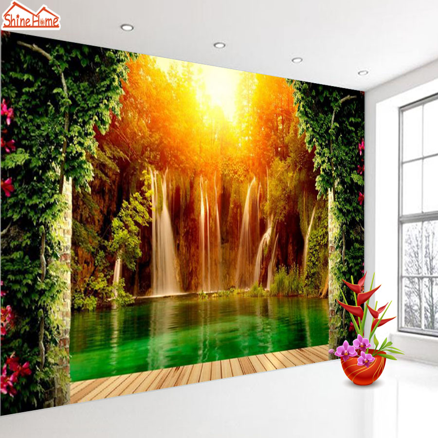 ShineHome-Waterfall Water Flow Wooden Floor Sunset Wall Paper 3d Wallpaper for Walls 3 d  Living Room Background Wallpapers shinehome red van gogh almond blossom painting wallpaper rolls for 3d walls wallpapers for 3 d living rooms wall paper murals