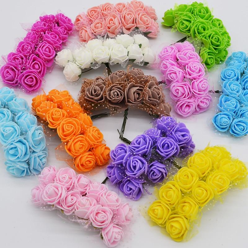 144 шт. 2 см миниатюрная роза из пеноматериала шелк искусственный цветок PE Rose самодельный букет Подарочная коробка Свадебные украшения Искусственный цветок для альбомов
