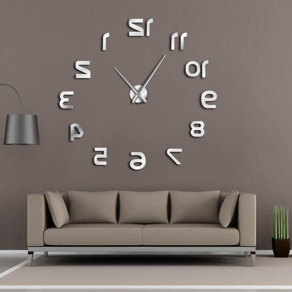 en arriere diy grande horloge murale design moderne chiffres inverses sans cadre mur montre de luxe miroir effet grand aiguille inverse horloge dans