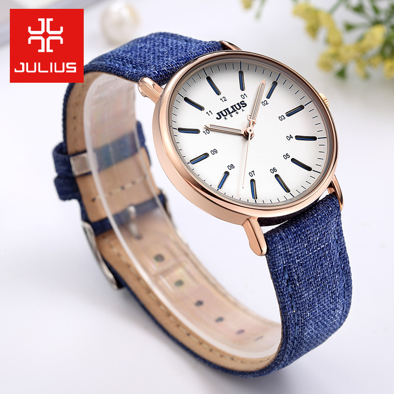 Julius Women's Watch Japan Quartz Unisex Men's Hours Fashion Dress Bracelet Leather Denim Valentine Girl Boy Birthday Gift new simple cutting glass women s watch japan quartz hours fashion dress stainless steel bracelet birthday girl gift julius box
