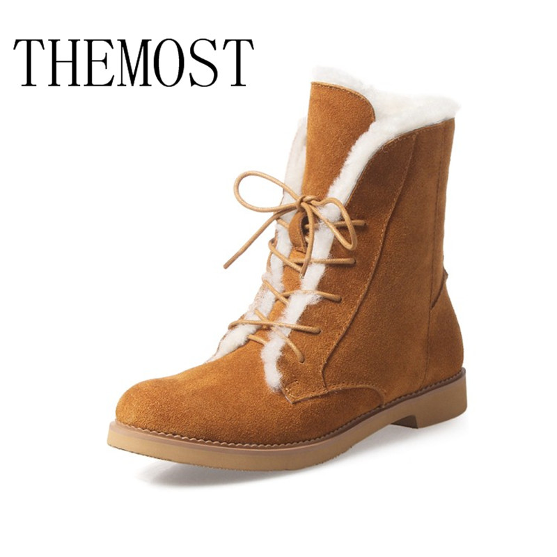 THEMOST European and American new autumn winter lamb hair short boots real leather lace-up boots european and american 2017 new lychee grain 100