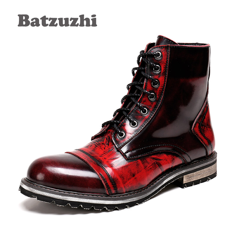 Batzuzhi 2018 Autumn Winter Men's Boots Mid-Calf Leather Boots Men Wine Red British Leather High Boots for Men Zapatos Hombre british style splicing and buckle design mid calf boots for men
