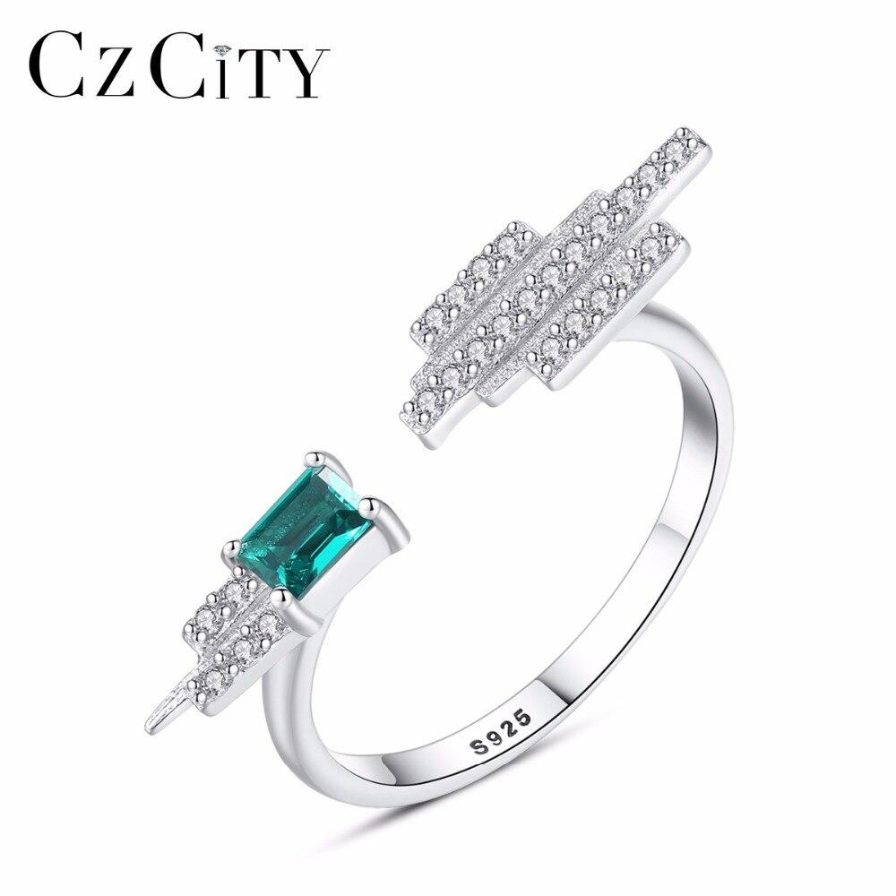 CZCITY модные Винтаж зеленый Nano Изумрудное кольцо Подлинная твердых стерлингового серебра 925 может камень кольца для Для женщин Fine Jewelry ...