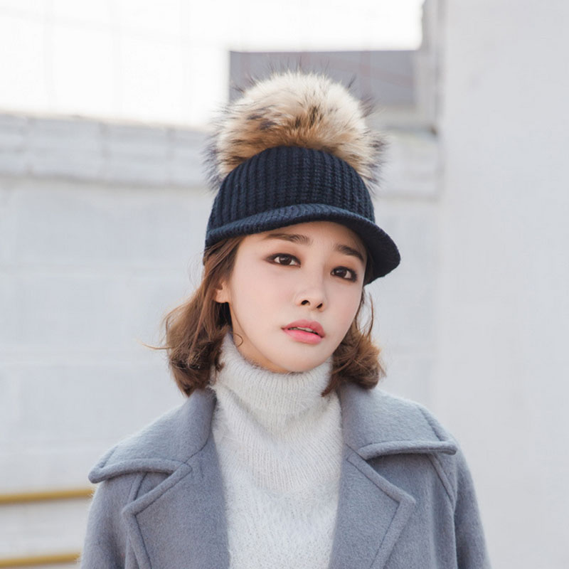 Ymsaid 2018 New Raccoon Hair Ball Curling Hat Hat Knitted Baseball Cap Ladies Cap Wholesale Hot Women's Wool Hat 2017 new arrival raccoon hair curling