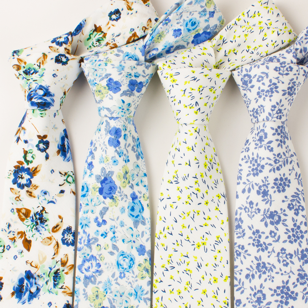 Mantieqingway Men's Cotton Necktie Business Suits Neck Ties Wedding Print Floral Neckwear Tie Brand Skinny Gravatas Good Gift