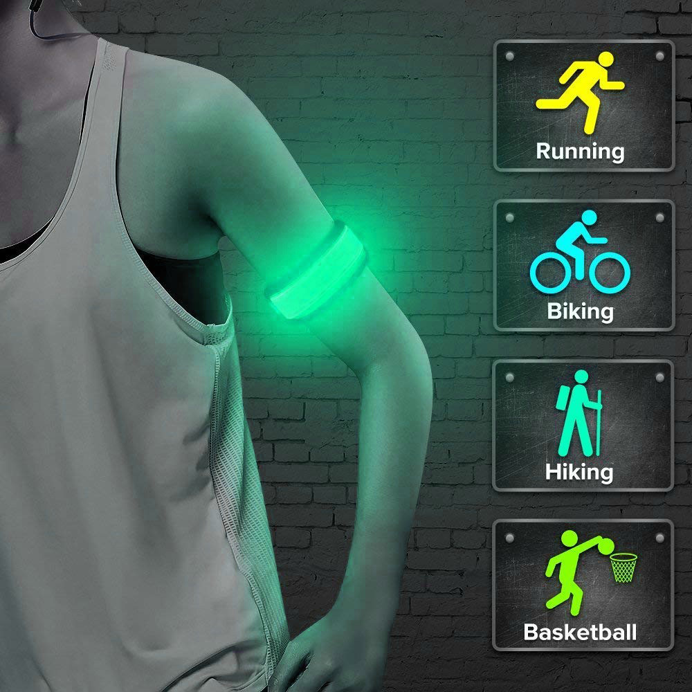 New Sport LED Flashing Light Up Glow Bracelet Wristband Vocal Concert Party Props Gift Gym Outdoor Running Cycling Light Lamp 30