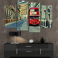 4 Panels Modern Wall Canvas Painting London Street Landscape Picture Home Decorative Art Picture Paint On