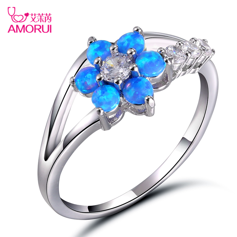 AMORUI Womens Blue/Pink/White Fire Plum Blossom Flower Opal Rings for Women White Gold CZ Stone Engagement Ring Bague Femme Gift
