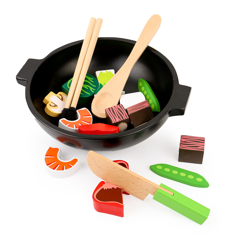 Candywood Wooden Simulation Vegetable meat Hot Pot set Play Food cutting toys Kitchen toys for baby kids girl&boy gift candywood mother garden baby kids wood kitchen cooking toys wooden kitchenette gas stove educational toys for girl gift